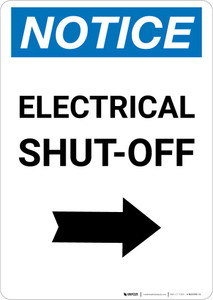 Notice: Electrical Shut-Off Portrait with Right Arrow