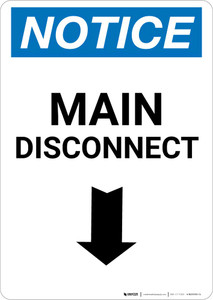 Notice: Main Disconnect Portrait with Down Arrow