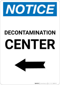 Notice: Decontamination Center with Left Arrow Portrait