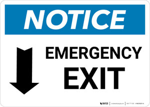 Notice: Emergency Exit with Down arrow Landscape