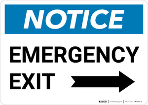Notice: Emergency Exit with Right arrow Landscape