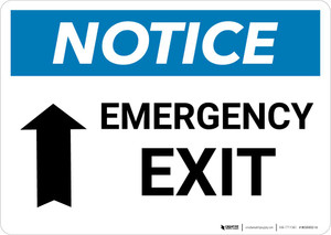 Notice: Emergency Exit with Up arrow Landscape