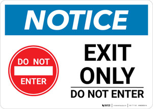 Notice: Exit Only - Do Not Enter with Icon Landscape