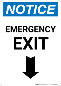 Notice: Emergency Exit with Down Arrow Portrait