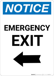 Notice: Emergency Exit with Left arrow Portrait