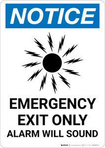Notice: Emergency Exit Only Alarm Will Sound Portrait