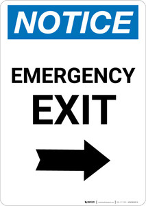 Notice: Emergency Exit with Right arrow Portrait