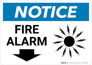 Notice: Fire Alarm with Down Arrow Landscape