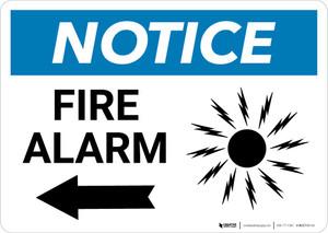 Notice: Fire Alarm with Left Arrow Landscape
