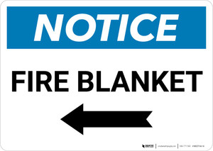 Notice: Fire Blanket with Left Arrow Landscape