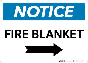 Notice: Fire Blanket with Right Arrow Landscape