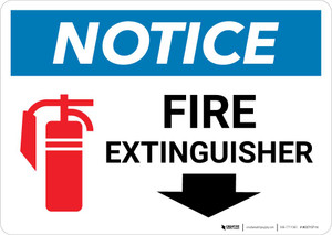 Notice: Fire Extinguisher with Down Arrow and Icon Landscape