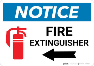 Notice: Fire Extinguisher with Left Arrow with Icon Landscape