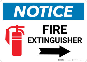 Notice: Fire Extinguisher with Right Arrow with Icon Landscape