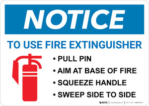 Notice: Fire Extinguisher Procedure Landscape