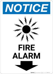 Notice: Fire Alarm with Down Arrow Portrait