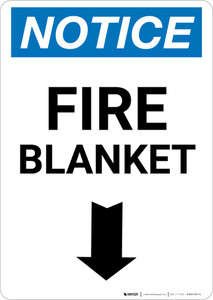 Notice: Fire Blanket with Down Arrow Portrait