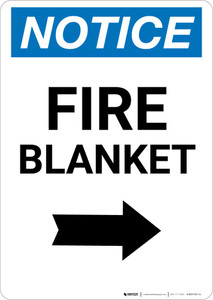 Notice: Fire Blanket with Right Arrow Portrait