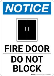 Notice: Fire Door Do Not Block Portrait