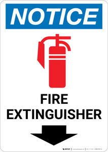 Notice: Fire Extinguisher with Down Arrow with Icon Portrait