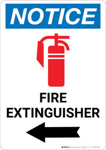 Notice: Fire Extinguisher with Left Arrow and Icon Portrait