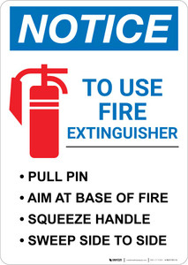 Notice: Fire Extinguisher Procedure Portrait