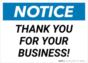 Notice: Thank You For Your Business Landscape
