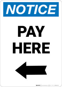 Notice: Pay Here with Left arrow Portrait