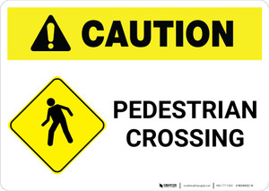 Caution: Pedestrian Crossing with Landscape