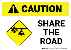 Caution: Share the Road with Icon Landscape