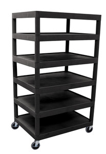 Luxor Six Flat Shelf Black Utility Cart