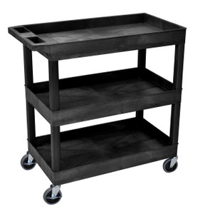 Luxor High Capacity 3 Tub Shelves Cart in Black
