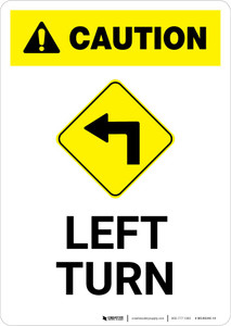 Caution: Left Turn with Icon Portrait