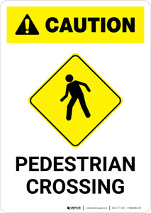 Caution: Pedestrian Crossing with Icon Portrait