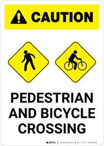 Caution: Pedestrian and Bicycle Crossing with Icon Portrait