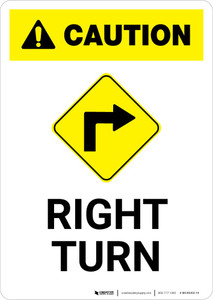 Caution: Right Turn with Icon Portrait