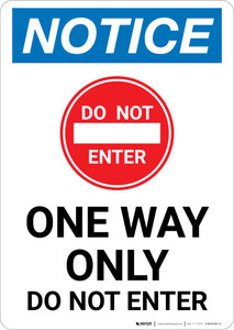 Notice: One Way Only - Do Not Enter with Icon Portrait