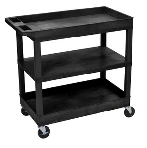 Luxor EC121 Black 18 x 32 Cart 2 Tub with 1 Flat Shelf