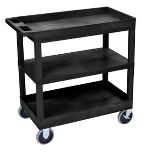 Luxor  Black EC121HD 18x32 Cart with 2 Tub Shelves and 1 Flat