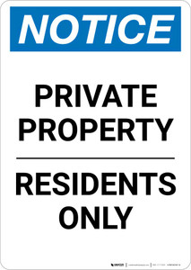 Notice: Private Property - Residents Only Portrait