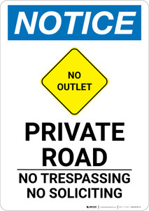 Notice: Private Road - No Trespassing/Soliciting with Icon Portrait