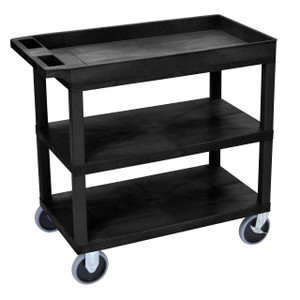 Luxor EC122HD 18x32 Black Cart 2 Flat with 1 Tub Shelf