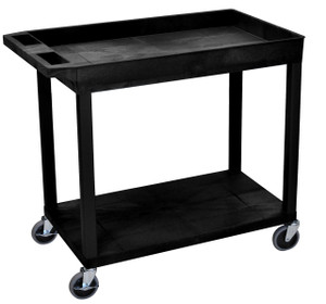 Luxor Black EC12 18x32 Cart 1 Tub/ 1 Flat Shelf