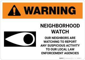 Warning: Neighborhood Crime Watch with Icon Landscape