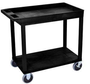 Luxor Black EC12HD 18x32 Cart 1 Tub with 1 Flat Shelf