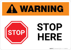 Warning: Stop Here Icon Landscape