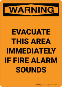 Warning: Evacuate This Area Immediately If Fire Alarm Sounds Portrait