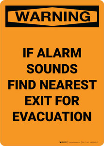 Warning: If Alarm Sounds Find Nearest Exit For Evacuation Portrait