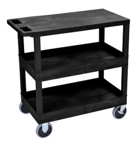 Luxor Black EC211HD 18x32 Cart with 2 Tub/1 Flat Shelves