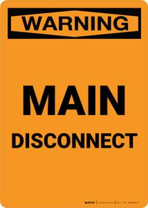 Warning: Main Disconnect Portrait